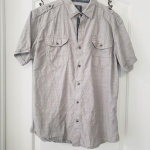 3/$25 Black Jack gray short sleeve butn do…